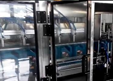 4L机油灌装旋盖铝箔封口喷码生产线